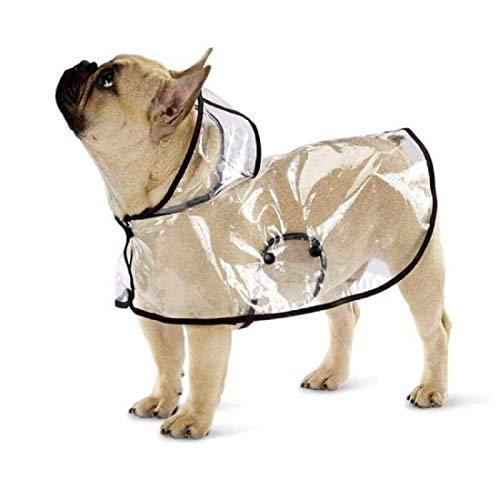 Ducomi Dogalize Manteau imperméable pour chien avec capuche en nylon transparent – Poncho anti-pluie pour chiens de petite et moyenne taille, manteau imperméable (noir, M)