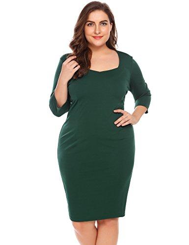 IN'VOLAND Involand Women's Plus Size Sweetheart Neck Bodycon Dress Wear to Work Dress 3/4 Sleeve Elegant Casual Pencil Dress