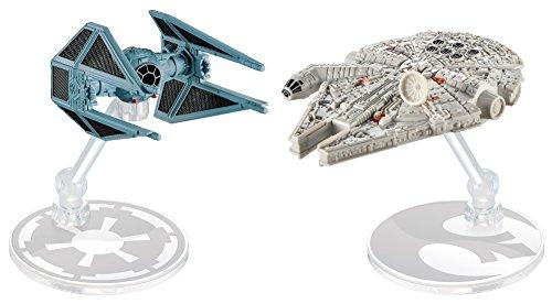 Hot Wheels DML96 Star Wars Starship Millennium Falcon vs Tie Interceptor, Multicolor