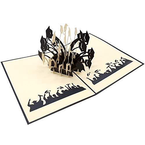 UNICUM Glückwunschkarte 3D Pop-Up Doktorhüte | Geschenk für Student und Studentin | Karte | Uni Abschluss | Abitur | Examen | Bachelor | Master | Graduation