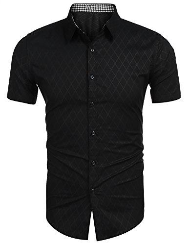 Coofandy COOFANDY Herren Hemd Kurzarm Slim fit Freizeit Sommer Bügelleicht Hemden für Männer Kurzarmshirt (Schwarz, L)