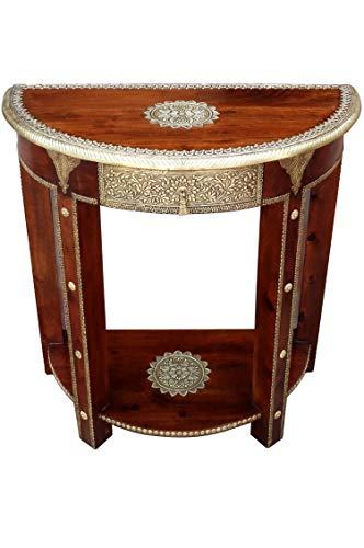 Orientalische Konsole Sideboard schmal Kalinda Braun Goldfarbig | Orient Vintage Konsolentisch orientalisch handverziert | Landhaus Anrichte aus Holz massiv | Asiatische Deko Möbel aus Indien