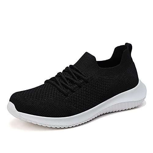 LXLOVESM Zapatos de mujer para caminar, de moda, sin cordones, para correr, casual, atlético, ligero, transpirable, para el gimnasio, Negro, 38.5 EU