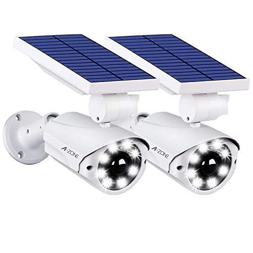 A-ZONE センサーライト 屋外 ソーラーライト 人感センサーライト 防犯カメラ型 IP66防水・防塵 省エネ 太陽光充電 配線・電源不要 ダミーカメラ 8LED 自動夜間点灯 人感検知 360°角度調節可能 壁掛け庭先 玄関周りなど対応