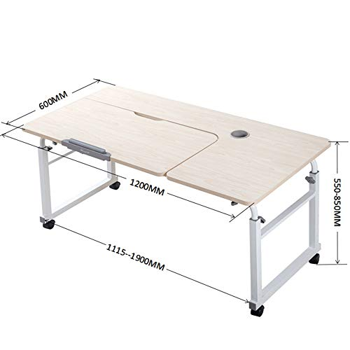 NYDZ Bureau Pliant pour Ordinateur, réglable en Hauteur, rétractable, Mobile, Table de lit, Table de Salle à Manger, Table d'étudiant (Color : A, Size : 120 * 60cm)