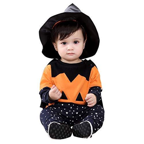 Disfraz Halloween Bebé, Calabaza Camiseta + Pantalones + Capa + Sombrero de Bruja 4pcs