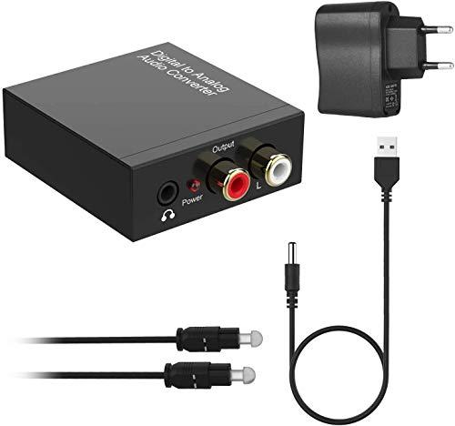 192KHz Convertidor DAC, Óptico a RCA Digital a Analógico, Óptico Coaxial (RCA) Toslink SPDIF a Audio Estéreo RCA L/R y Jack 3.5mm con Cable Óptico y Cable USB DC/5V para PS4 Xbox BLU-Ray HDTV