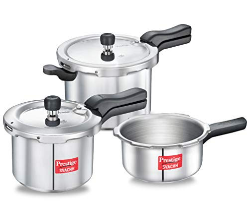 Prestige Svachh Aluminium 2+3+5 Litre Combo cooker with Induction Base