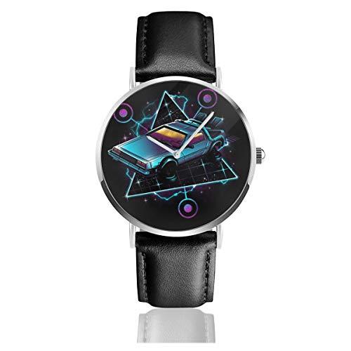 Unisex Business Casual Zurück in die Zukunft Delorean Retro Wave Uhren Quarz Leder Uhr mit schwarzem Lederband für Männer Frauen Junge Kollektion Geschenk