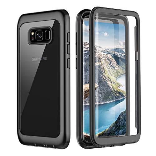 Pakoyi Samsung Galaxy S8 Plus Case, Full Body Bumper Case Built-in Screen Protector Slim Clear Shock-Absorbing Dustproof Lightweight Cover Case for Samsung Galaxy S8 Plus (Black/Clear)