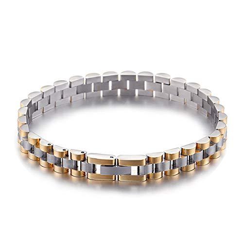 Beydodo Armband Männer Edelstahl Uhrenarmband 10 MM Breit Gold Silber Freundschaftsarmband Charm Armbänder für Herren 21CM