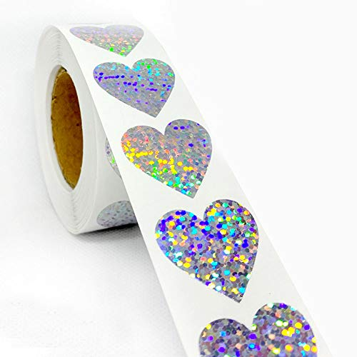 """Glitter Stickers Sparkly - 1"""" 500 Labels Per Roll - Valentine's Day Love Decorative Sticker for Scrapbooking Party Favors Teacher Supplies (Heart-Shaped)"""