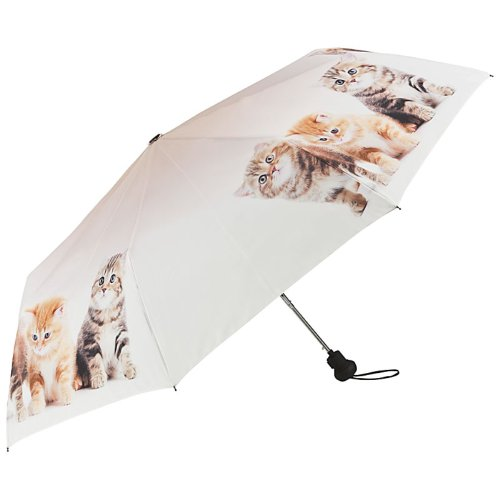 VON LILIENFELD Regenschirm Taschenschirm Stabil Leicht Auf-Automatik Damen Katzentrio