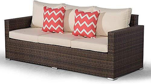 Sofá de 3 plazas en ratán marrón |Gran sofá de jardín de ratán polivinílico |Sofá de ratán para Patio al Aire Libre con Cubierta para Muebles de jardín para Todo Clima