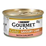 Gourmet Gold Wet Cat Food Savoury Cake Salmon Can Adult, 85g - Pack of 12