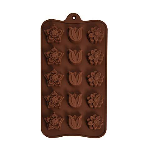 HEIGOO Molde de Chocolate, moldes de Silicona con Forma de Rosa para derretir Cera, Uso para Whisky, cócteles, Agua, Chocolate o Postre, marrón