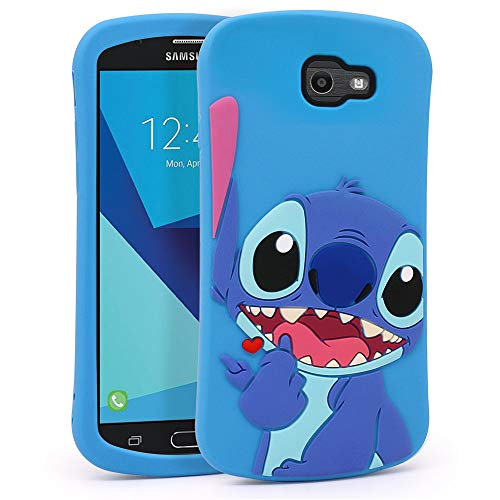 YONOCOSTA Cute Case for Samsung Galaxy J7 V / J7 2017 / J7 Prime / J7 Perx / J7 Sky Pro/Galaxy Halo Case, Blue Stitch Funny 3D Cartoon Animals Shaped Soft Silicone Shockproof Case Cover Skin