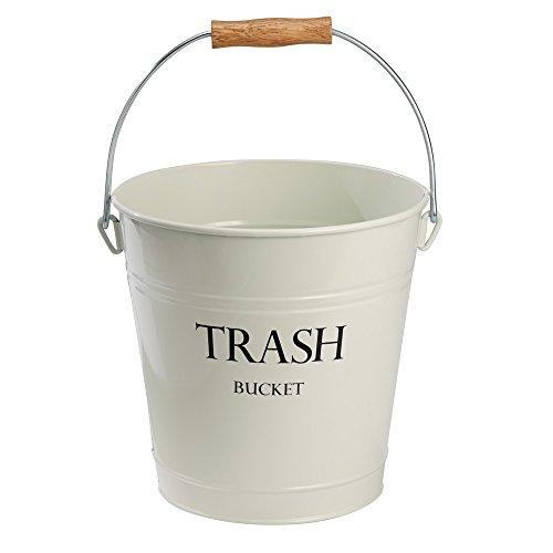 Metal, Ivory Pail Wastebasket Trash Can