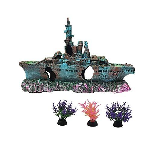 Tfwadmx Aquarium Shipwreck Decorations Fish Tank Ornaments- ECO-Friendly Resin Material Sunken Ship Decorations- Freshwater Saltwater Aquarium Betta Fish Decorations