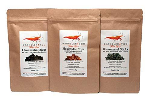 GARNELEN4YOU® Feed Line Allrounder Bundle: Hokkaido - Brennnessel - Löwenzahn, hochwertige Futter Sticks/Chips für Aquarienbewohner wie Garnelen, Krebse und Schnecken, 2X 50g + 1x 20g