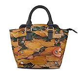 IUBBKI Best Handbags Cup Cappuccino Coffee Cinnamon Zodiac Fish Monederos con asa personalizada Pu Cuero Remache Portátil Impresión de moda W