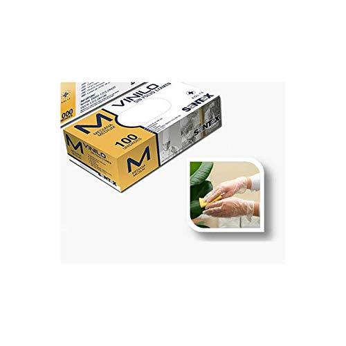 Guantes desechables transparentes de Vinilo Talla M 100 piezas de confort fino, Sin látex, Sin polvo, Alimentos seguros para el servicio de alimentos, Limpieza, Lavado de platos