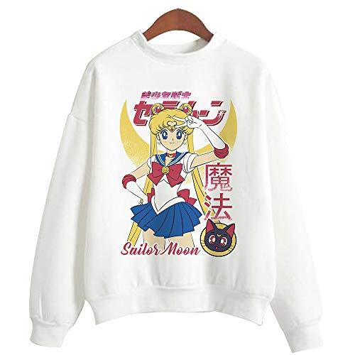 Adult Anime Sailor Moon Printed Cotton Crewneck Sweatshirts Pullovers Tops for Women Girls