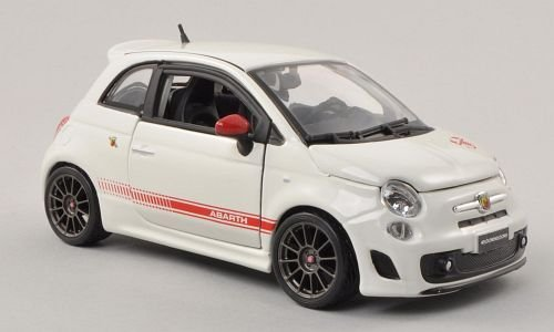 Fiat Abarth 500 esseesse, Weiss/rot , Modellauto, Fertigmodell, Bburago 1:24