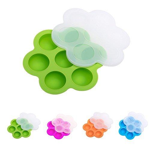 Xiton piqûres d'œuf en silicone Moules pour Instant Pot, Nourriture pour bébé de conservation et de congélation Plateau avec couvercle Vert