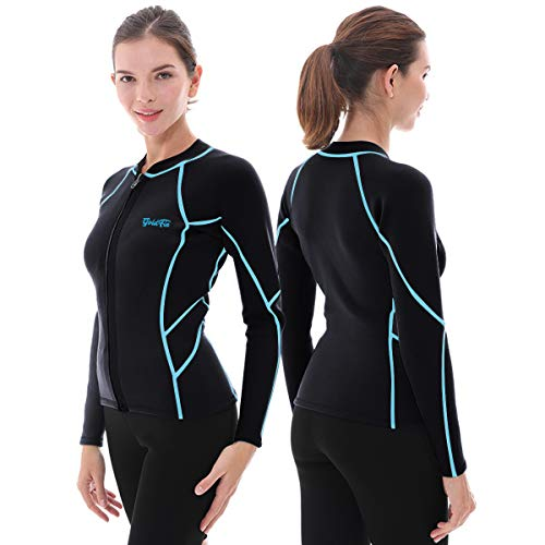 GoldFin Women's Wetsuit Top, 2mm Neoprene Wetsuit Jacket Long Sleeve Front Zip Wetsuit Shirt for Diving Snorkeling Surfing Kayaking Canoeing (Black/Blue Lines, L)