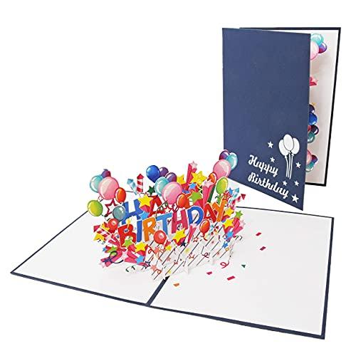 """Favour Pop Up® - Glückwunschkarte zum Geburtstag in 3D, ein farbenfrohes """"Happy Birthday"""", das garantiert Freude bereitet, blaues Cover, Format 13x18cm TBX126"""