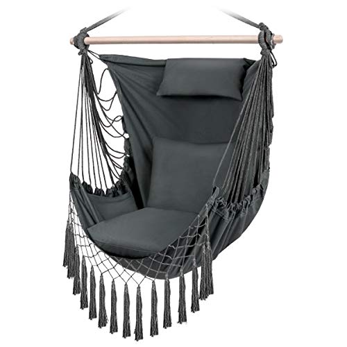 Sunix Poltrona sospesa fornita di 3 Morbido cuscini,sedia sospesa per adulti e bambini, Portata 150 kg ,per amaca da giardino, patio, dondolo da cortile e giardino