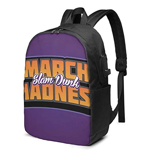 Laptop Backpack with USB Port Net Orange Text March, Business Travel Bag, College School Computer Rucksack Bag for Men Women 17 Inch Laptop Notebook