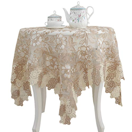 Lace Polyester Tablecloth Embroidery Square Table Cloths for Bedside Table Home Decorations, 36 x 36 Inch, Beige