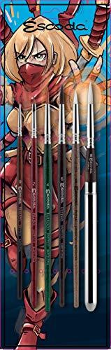 ESCODA Set 6 Pinceles Comic - Manga Anime Cosplay Ilustración Acuarela Redondo Punta Plano Viaje Sintético Series Versàtil Prado Barroco Último Perla Profesional Fabricado a Mano en España.