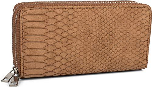 styleBREAKER Damen Geldbörse in Krokodilleder Optik, 2 umlaufende Reißverschlüsse, Portemonnaie 02040126, Farbe:Cognac