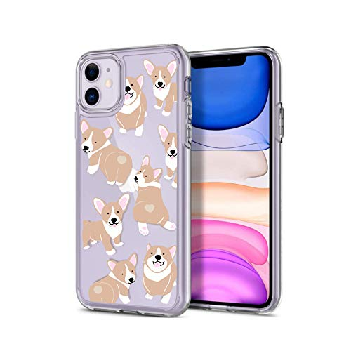 KATEYANG iPhone 11 Transparent Case with Cute Corgi Puppy Design for Dog Lovers, Girls and Woman | Hard Plastic Back with Soft Raised Edges for Screen and Camera Lens Protection
