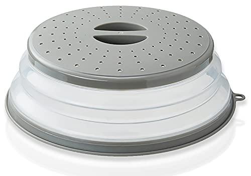 ASFINS Tapa Microondas Plegable, Tapa Plegable para Microondas Colador Plegable Silicona, para Colar, Drenaje y Enjuague Frutas, para Sellar Alimentos, 26,5 cm (Gris)
