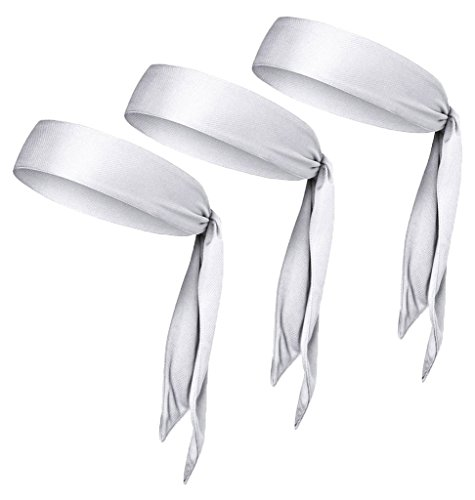 V-SPORTS Dri-Fit Head Ties Tennis Headbands Sweatbands Performance Elastic and Moisture Wicking, White, 3 Piece, One Size, 40.16