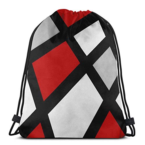 Drawstring Stuff bagsGym Bag Red Gray Black White Geometric Adjustable Straps Drawstring Backpack Bags Personalized Cinch BagSack Cinch Bag36 X 43CM