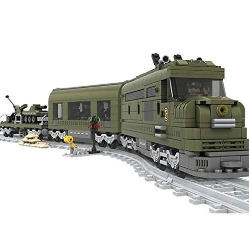 Bloques de construcción Modelo DIY construcción Tren Serie Tren Militar Bloques de construcción Juguetes educativos para niños Regalos para niños