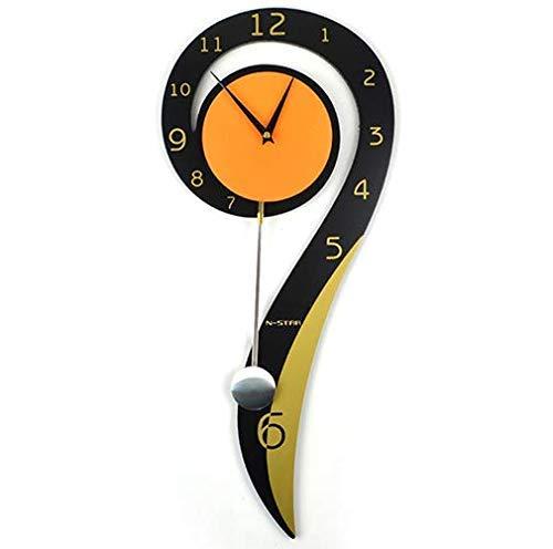 Decorativos modernos Reloj De Pared Péndulo - De pilas Silencioso no tictac Grande con estilo Reloj de pared de madera maciza Dormitorio de la sala de estar Oficina de cocina Reloj de pared columpio