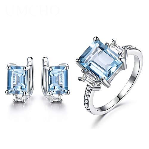 925 sterling zilveren sieraden sets vrouwelijke sky-blauwe edelsteen ringen zorg clip oorbellen vrouwelijke verloving huwelijk sieraden
