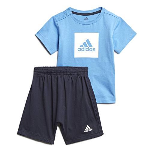 adidas I Logo Sum Set Chándal, Unisex bebé, Top:Lucky Blue/White Bottom:Legend Ink f17/White, 1218M