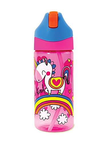 RACHEL ELLEN DESIGNS - Botella infantil de tritán con caña Unicornio - RE-STBOT6
