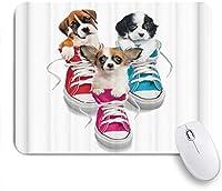 NIESIKKLAマウスパッド 3いたずらな子犬 ゲーミング オフィス最適 おしゃれ 防水 耐久性が良い 滑り止めゴム底 ゲーミングなど適用 用ノートブックコンピュータマウスマット