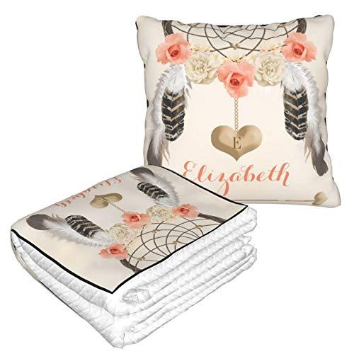 Manta de almohada de terciopelo suave 2 en 1 con bolsa suave monogramada coral y dorado Boho Dreamcatcher funda de almohada para casa, avión, coche, viajes, películas