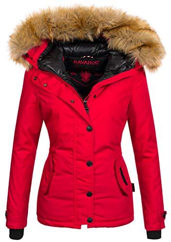 Navahoo warme Damen Winter Jacke Winterjacke Parka Mantel Kunstfell B392 [B392-Laura2-Rot2-Gr.S]