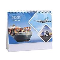 卓上カレンダー デスクカレンダー2021、企画整理、ダブルコイルバインディング/ 2021年の間の毎月のデスクパッドカレンダー デスクトップカレンダー (Color : F)