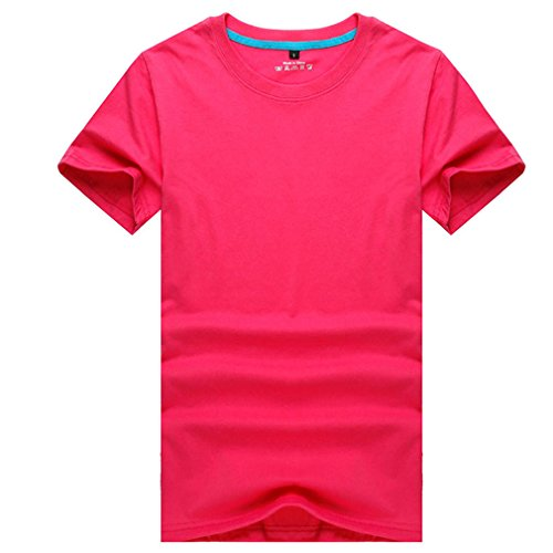 CIKRILAN Hommes Outdoor Ras du Cou Manches Courtes Quick Dry Wicking Rspirant Tee Shirt Casual Sports Course Camping Randonnée T-Shirt (Large, Rose Rouge)